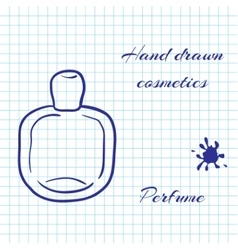 Hand drawn line art cosmetics on notebook paper vector image vector image