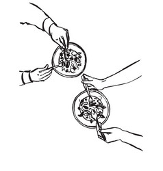 hands with cutlery dining people top view vector image