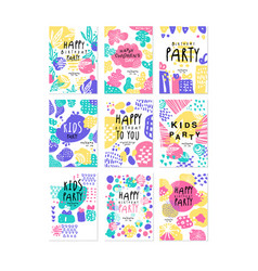 Happy birthday party original design posters set vector