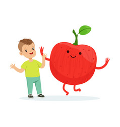 happy boy having fun with fresh smiling apple vector image