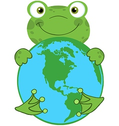 Happy Frog Hugging Planet Earth vector image