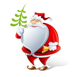 happy santa claus with bell vector image