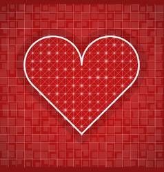 heart shape drawing template with red background vector image