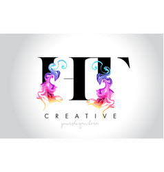 Ht vibrant creative leter logo design with vector