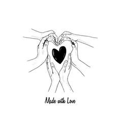 I love you design hand together heart shape vector