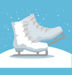 ice skates sport icon vector image