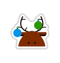 In paper sticker style deer vector