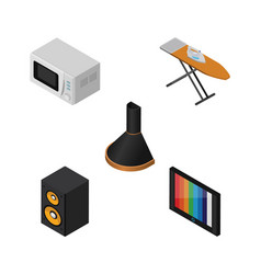 Isometric appliance set of music box microwave vector