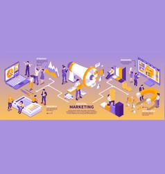 Isometric marketing strategy infographics vector