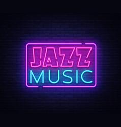 jazz music neon sign jazz music design vector image
