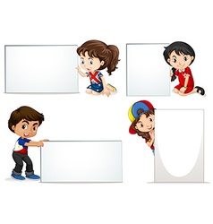 Kids holding blank sheet of boards vector image
