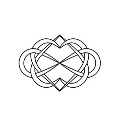 Knot hearts and infinity sign sign vector