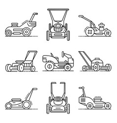 Lawnmower icon set outline style vector