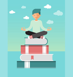 man sitting lotus pose on stack books with vector image