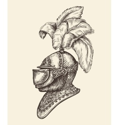 Medieval knight helmet Vintage sketch vector
