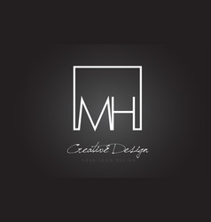 Mh square frame letter logo design with black and vector