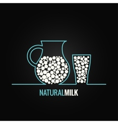 Milk glass bottle line design background vector