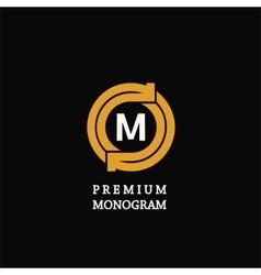 modern template monogram emblem logo circle vector image