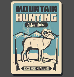 Mountain sheep hunting season retro poster vector