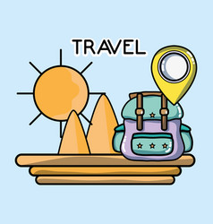 Mountains backpack pointer location tourist vector