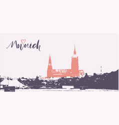 munich city horizon and lettering vector image