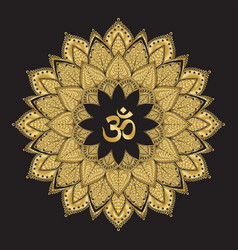 om symbol with mandala round golden pattern on vector image