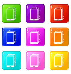 Opened phone icons 9 set vector