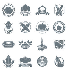 Organic farm product logo icons set simple style vector
