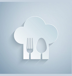 Paper cut chef hat with fork and spoon icon vector