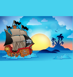 Pirate ship near small island 3 vector