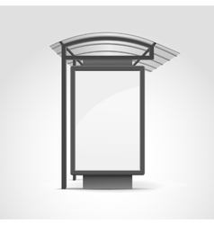 Public transport stop with billboard and place vector