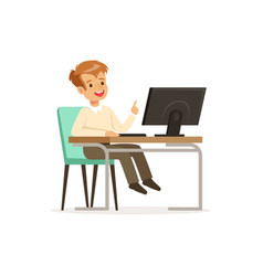 pupil of elementary school sitting at computer vector image