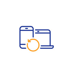 Recovery devices line icon backup data sign vector