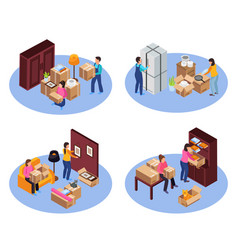 Relocation service concept icons set vector