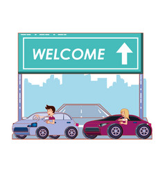 Road with welcome label vector