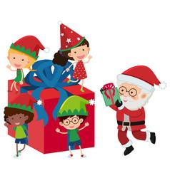 santa and happy children on present box vector image