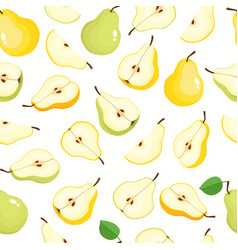 seamless pattern with cartoon pears vector image
