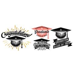Set graduation class 2020 congrats grad vector