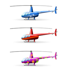 set helicopters white background isolated vector image