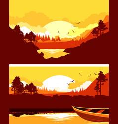 set horizontal nature banner vector image