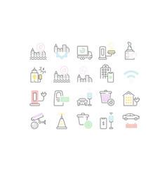 Set line icons smart city vector