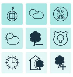 Set of 9 eco icons includes house fire banned vector