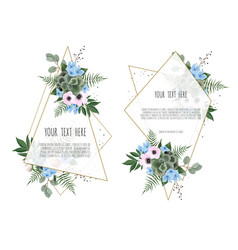 set of card with leaves and geometrical frame vector image