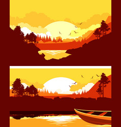 Set of horizontal nature banner vector