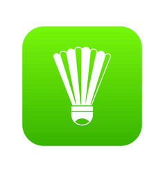 Shuttlecock icon digital green vector