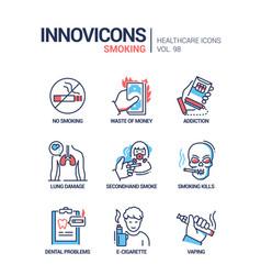 smoking - line design style icons set vector image