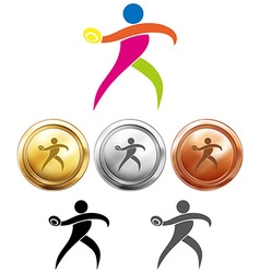 Sport medals with discus throwing vector image