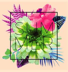 summer slogan trendy floral print vector image