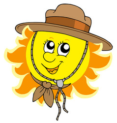 sun in scout hat vector image