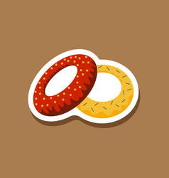 Sweet dessert in paper sticker donuts vector
